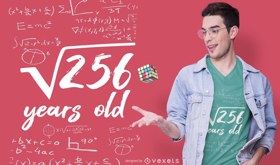 Diseño de camiseta de años de matemáticas.