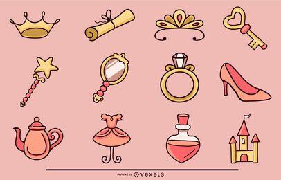 Coleção de elementos de princesa