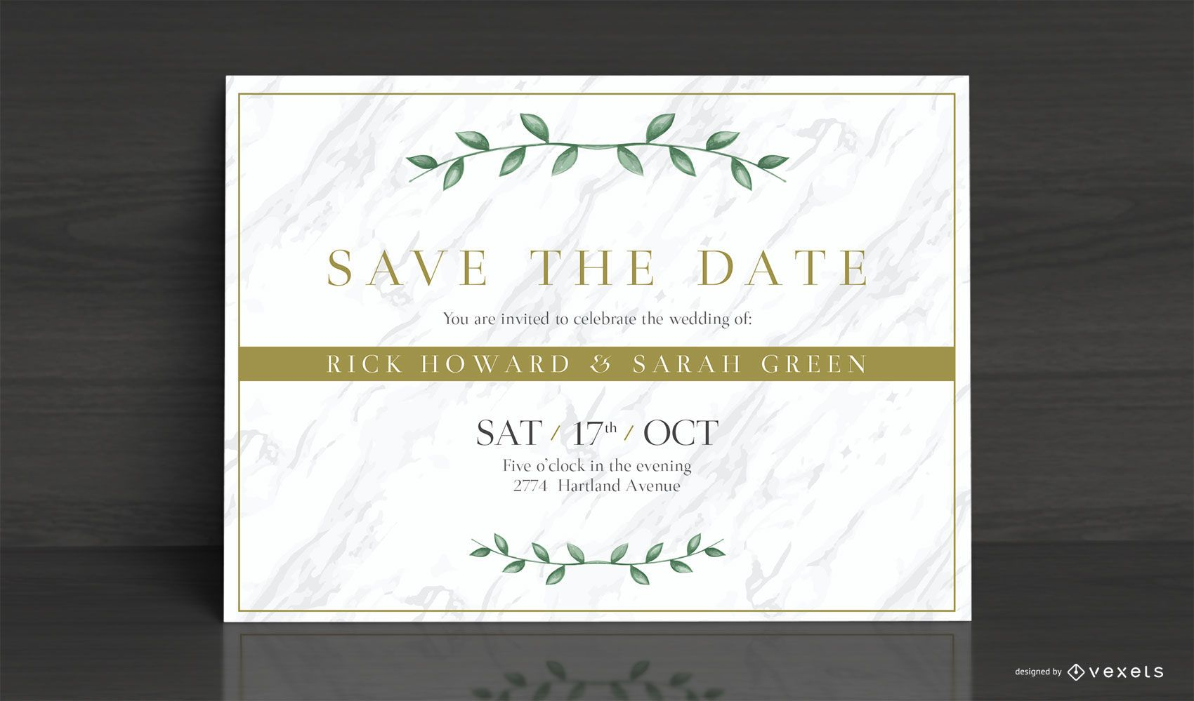 Diseño de tarjeta de invitación de boda elegante