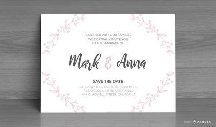 Design personalizado de convite de casamento