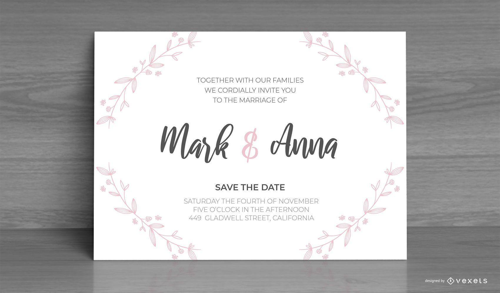 Diseño personalizado de invitación de boda