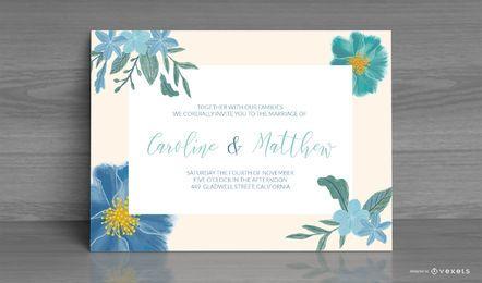 Diseño de tarjeta de invitación de boda floral