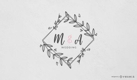 Monograma de casamento com moldura