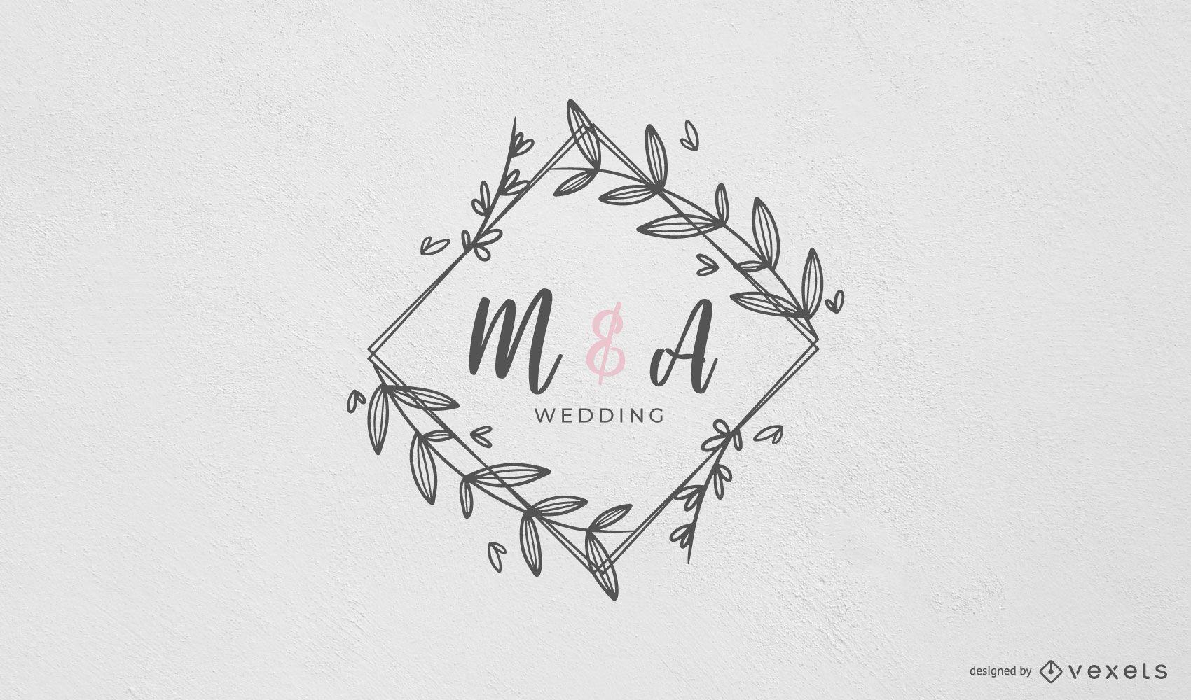 Monograma de casamento com design de moldura