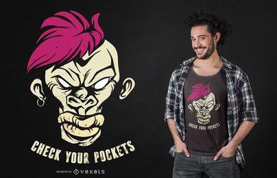 Design de t-shirt de bolsos de macaco