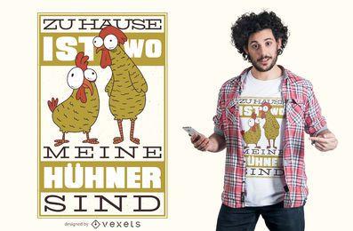 Diseño de camiseta de cita alemana de pollo