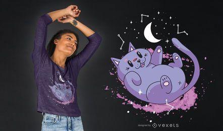 Diseño lindo de la camiseta del gato espacial