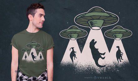 Diseño de camiseta de dinosaurios ovni