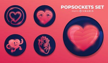 Conjunto de coração Popsockets