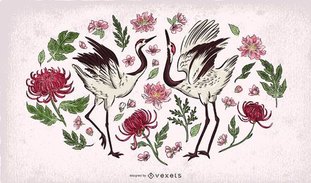 Crane birds floral illustration
