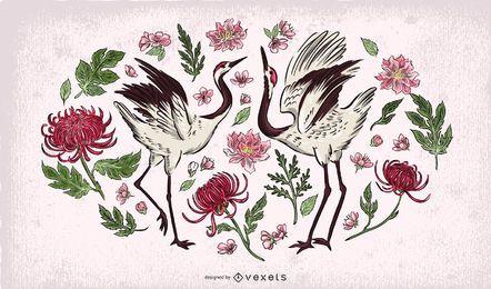 Ilustración floral de pájaros grúa