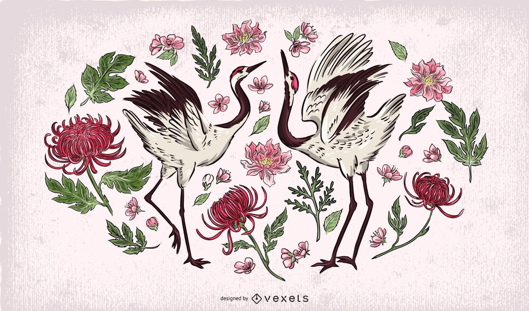 Crane birds floral illustration