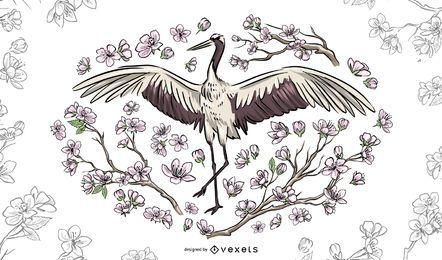 Ilustración floral hermosa grúa
