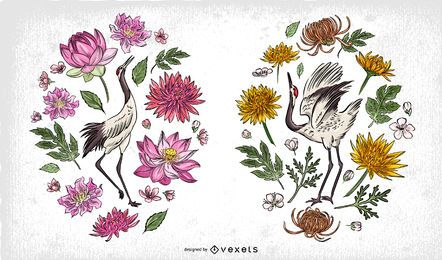 Chinese Birds Illustration Composition