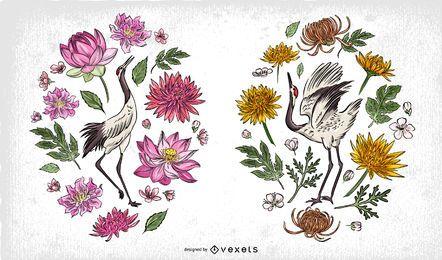 Composición de ilustración de pájaros chinos