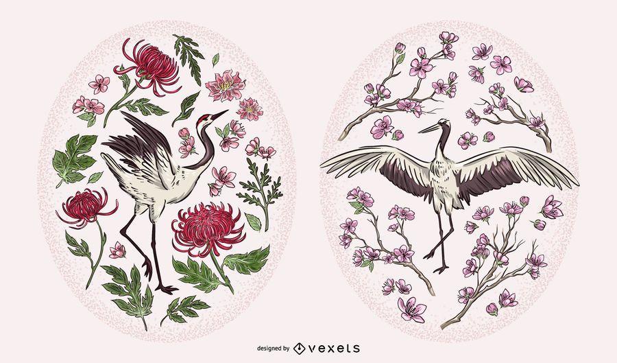Chinese Crane Nature Illustration Set