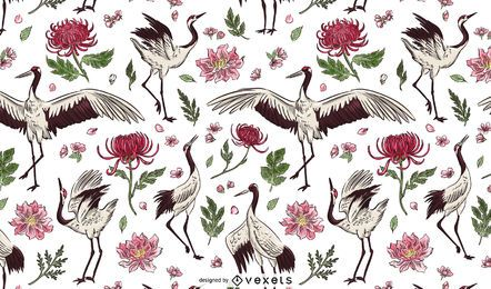 Crane bird floral pattern design