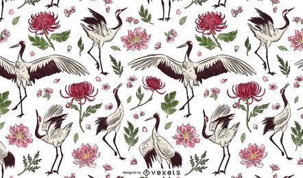 Diseño de patrón floral de pájaro grúa