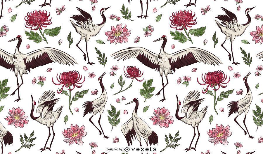 Desenho de padrão floral de pássaro guindaste