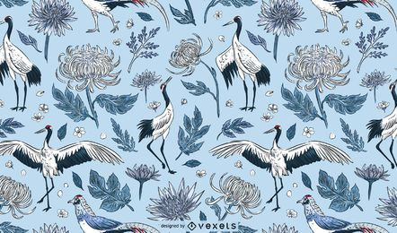 Crane birds flowers pattern design