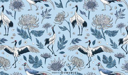 Diseño de patrón de flores de pájaros grúa