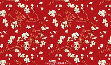 Aves artísticas e Design de fundo de flores