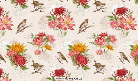Pássaros lindos da natureza e padrão de fundo de flores