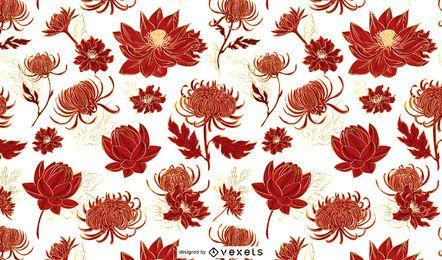 Desenho de padrão de flores chinesas vermelhas