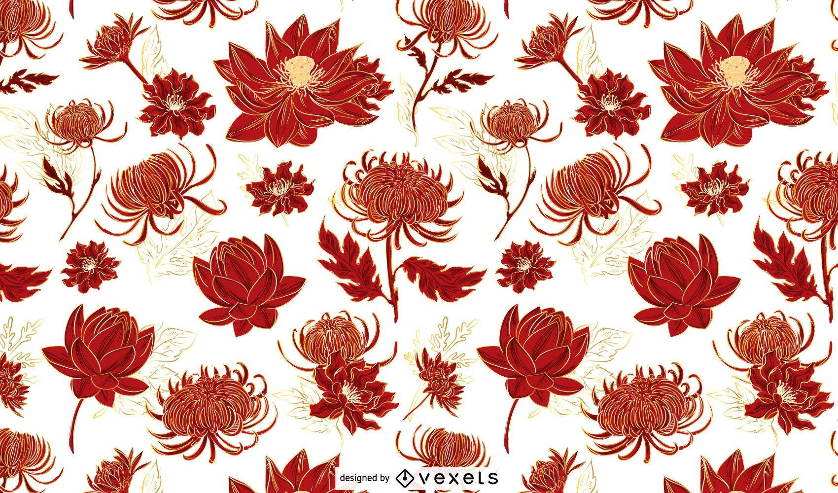Diseño de patrón de flores chinas rojas