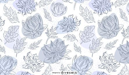 Chinese flowers hand drawn pattern