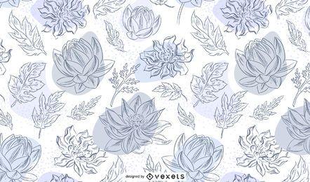Patrón dibujado a mano de flores chinas