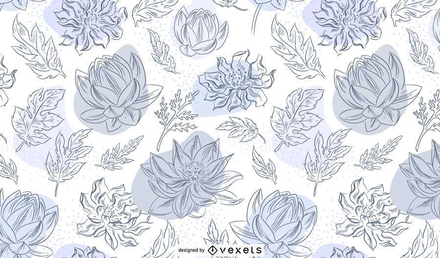 Chinese flowers hand drawn pattern