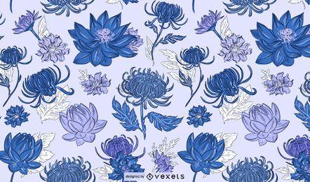 Design de padrão azul de flores chinesas