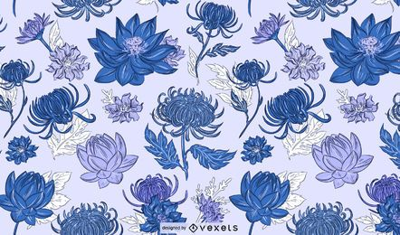Diseño de patrón azul de flores chinas