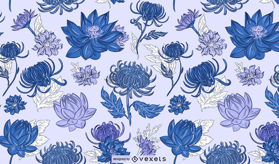 Chinese flowers blue pattern design