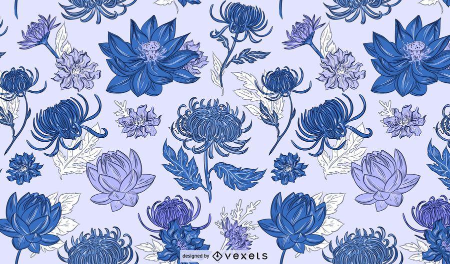 Desenho de padrão azul de flores chinesas