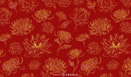 Design de padrão de flores chinesas