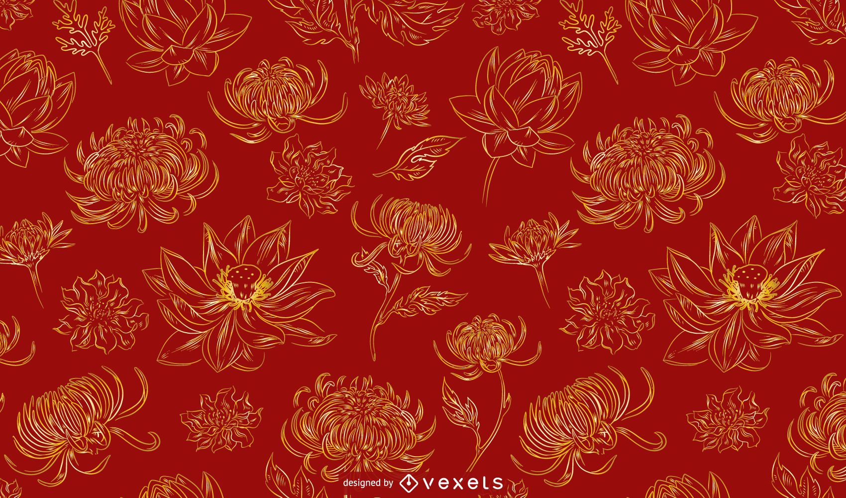 Chinese flowers pattern design