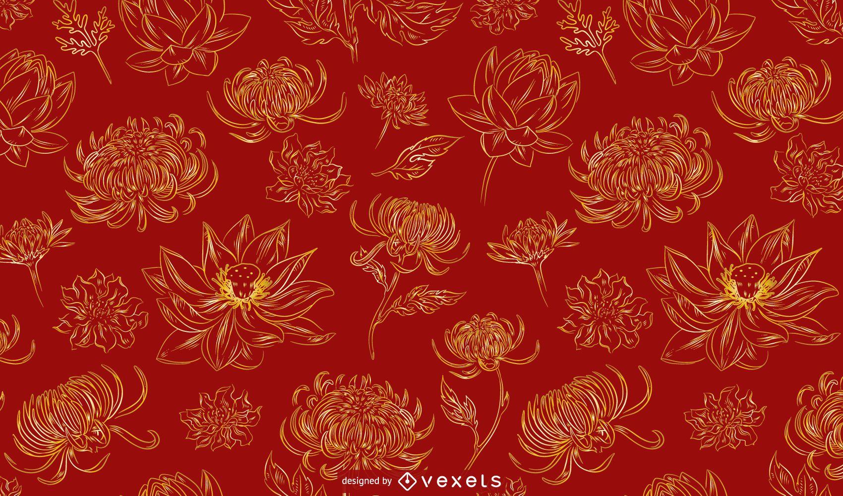 Desenho de padrão de flores chinesas