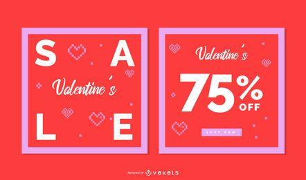 Conjunto de banner cuadrado de San Valentín