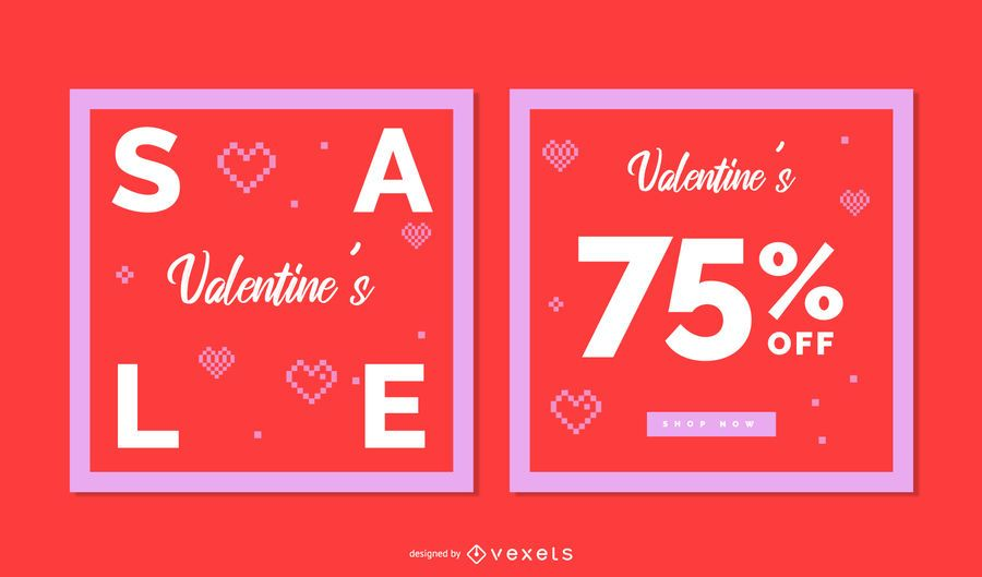 Valentine's Day Square Banner Set