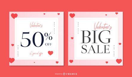 Valentinstag Verkauf Banner Set