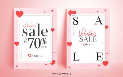 Conjunto de cartaz de venda de dia dos namorados