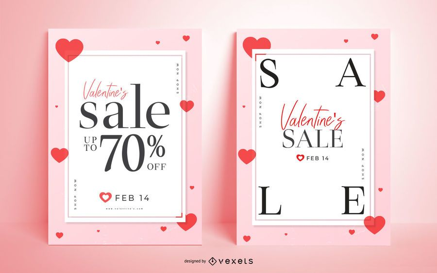 Valentinstag Verkauf Poster Set