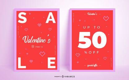 Conjunto de pôster promocional do Dia dos Namorados