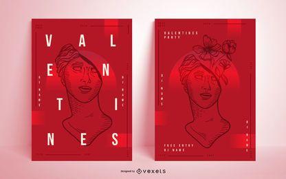 Conjunto de carteles artísticos de San Valentín