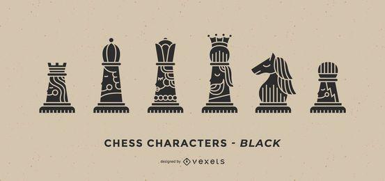 Conjunto de personagens de xadrez preto