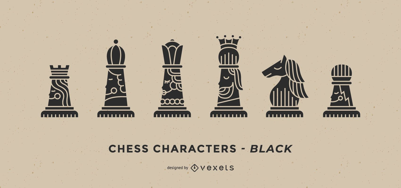 Black chess characters set