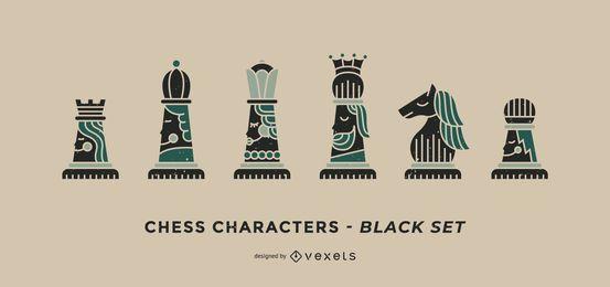 Conjunto preto de personagens de xadrez