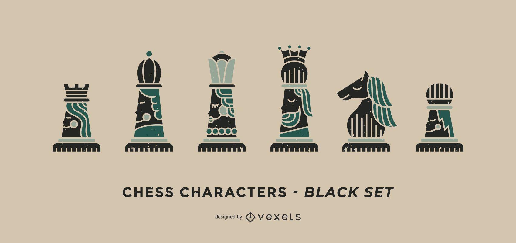 Conjunto de personajes de ajedrez negro